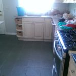 Kitchen - Customer eager to replace gray porcelain tile with fresh-looking hardwood planks