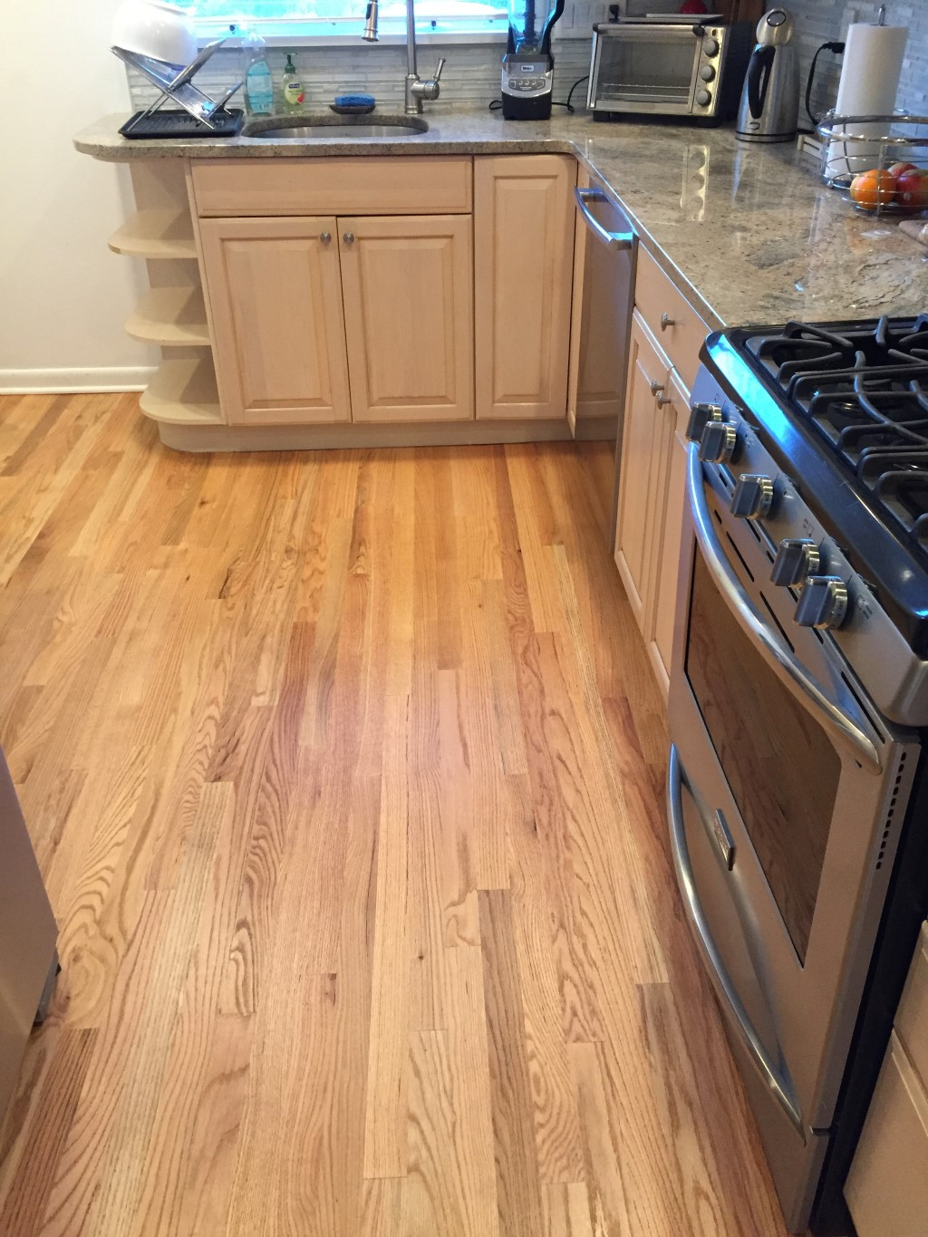 Kitchen   Unfinished Red Oak planks replace gray tiles   Floor Town